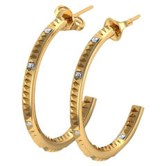 Barbara Nanning and Sparkles Diamond and Gold Hoop Earrings