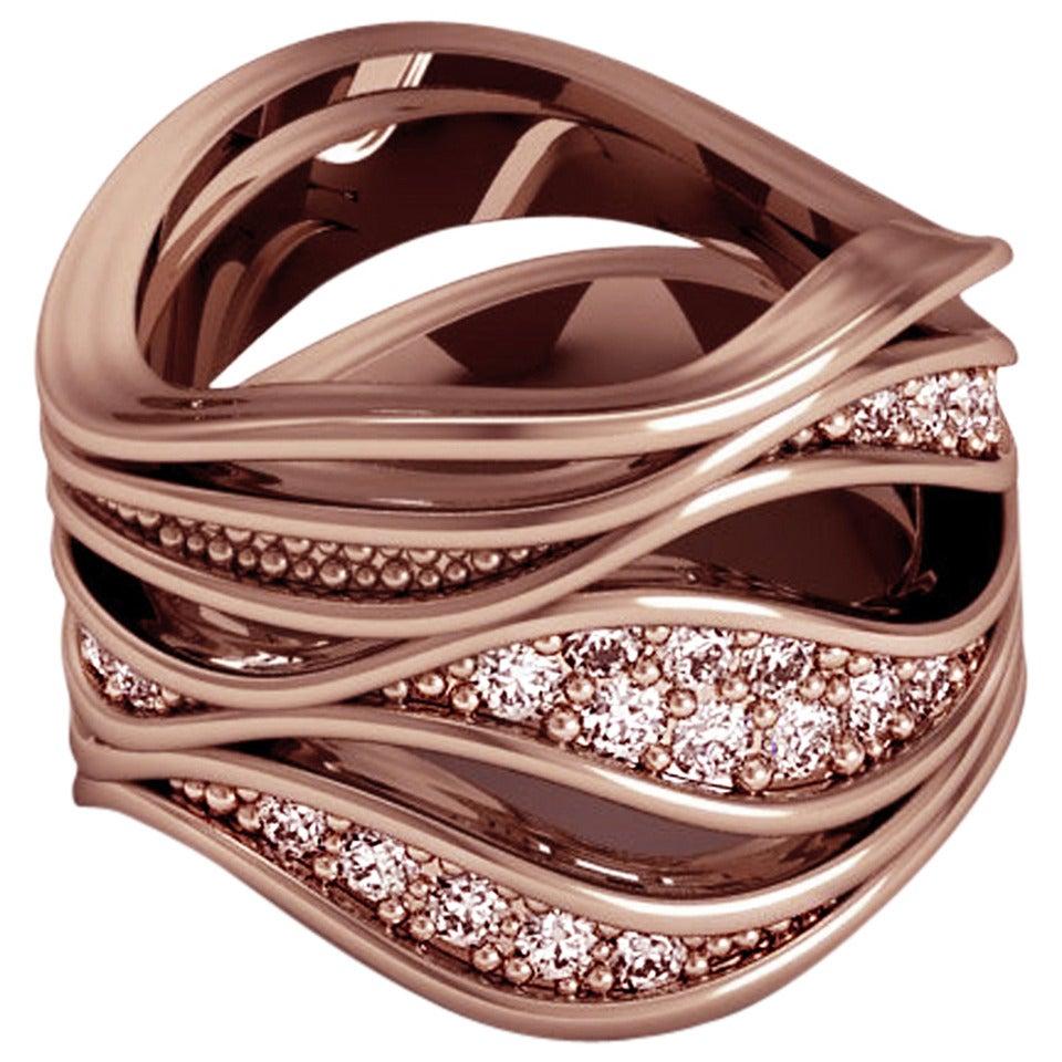 Christoph Blatter & Sparkles Unda Diamond Rose Gold Band Ring