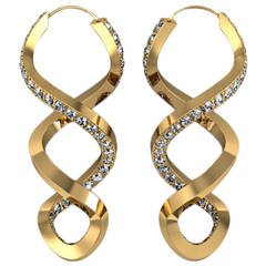Henk Stallinga and Sparkles Eternal Twist Diamond and Gold Earrings