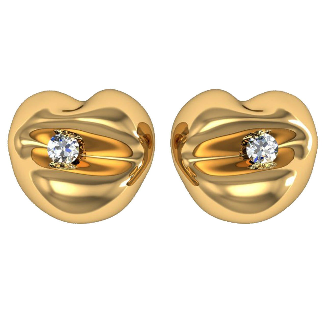 Barbara Nanning & Sparkles Diamond and Gold Earrings For Sale