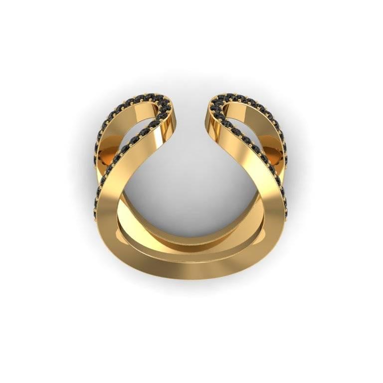 Henk Stallinga and Sparkles Black Diamond Gold Ring For Sale at 1stdibs