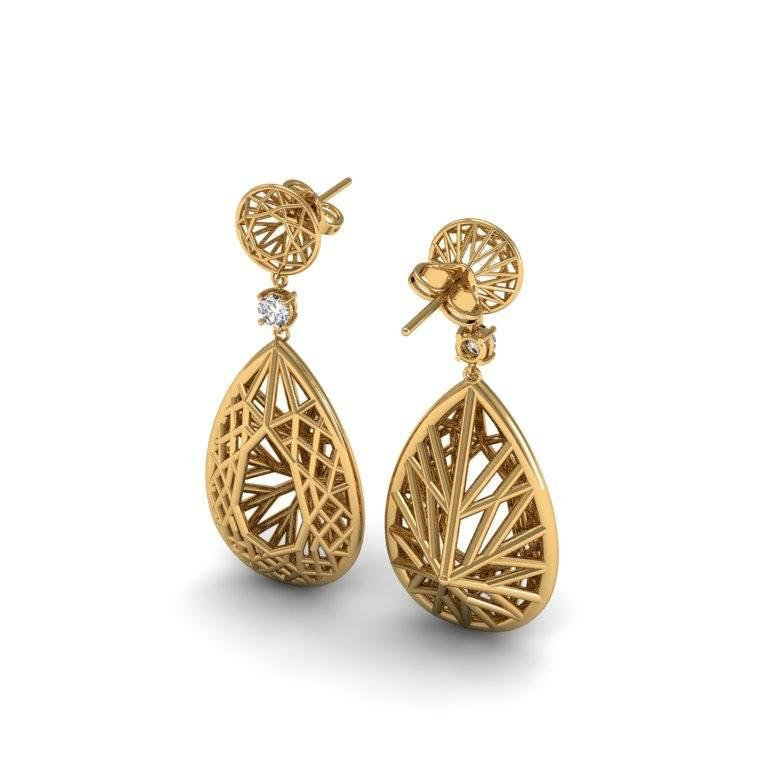 A statement pair of tear-drop earrings that adapt geometric patterns as they appear in nature into an intriguing scaffolding. The single precious gem breaks up the complexity of the piece creating a very bold and confident atmosphere.