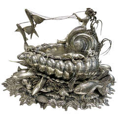 Buccellati Large Sterling Stunning Centerpiece With Marine Life