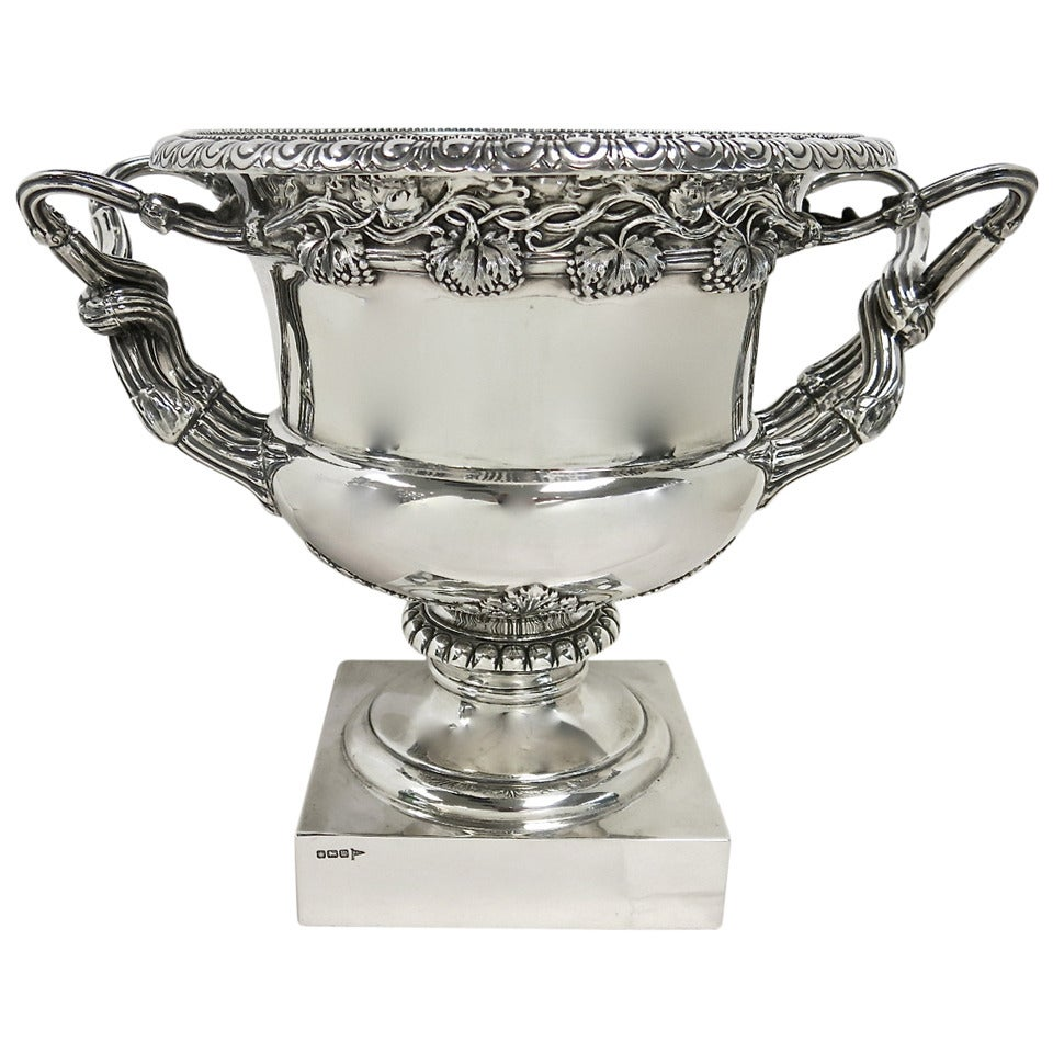 Antique English Sterling Silver Wine Cooler In The Warwick
