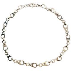1980s Asprey Diamond Gold Heavy Teardrop Shaped Link Chain