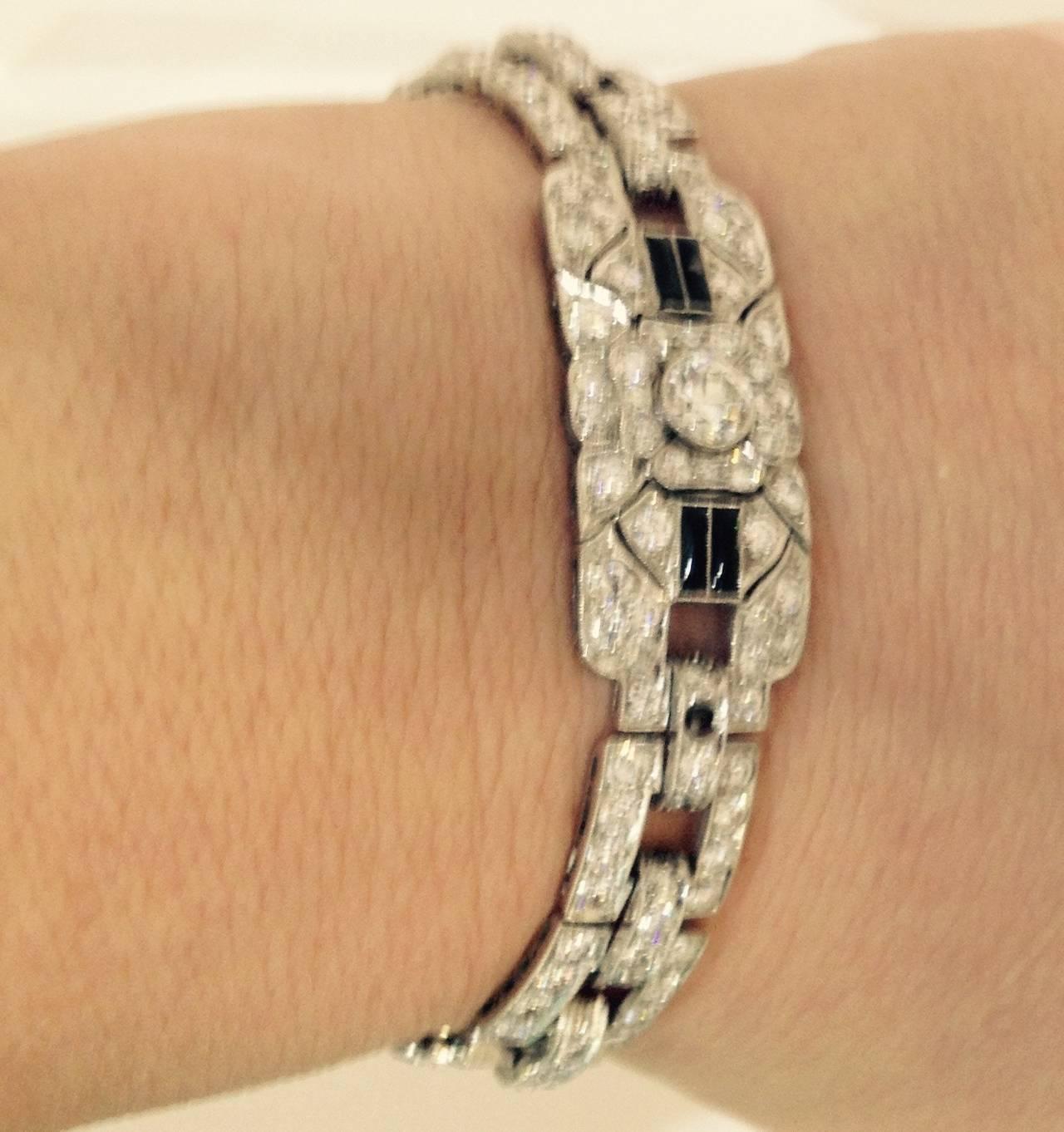 Art Deco Magnificent Onyx Diamond Platinum Flexible Bracelet 7