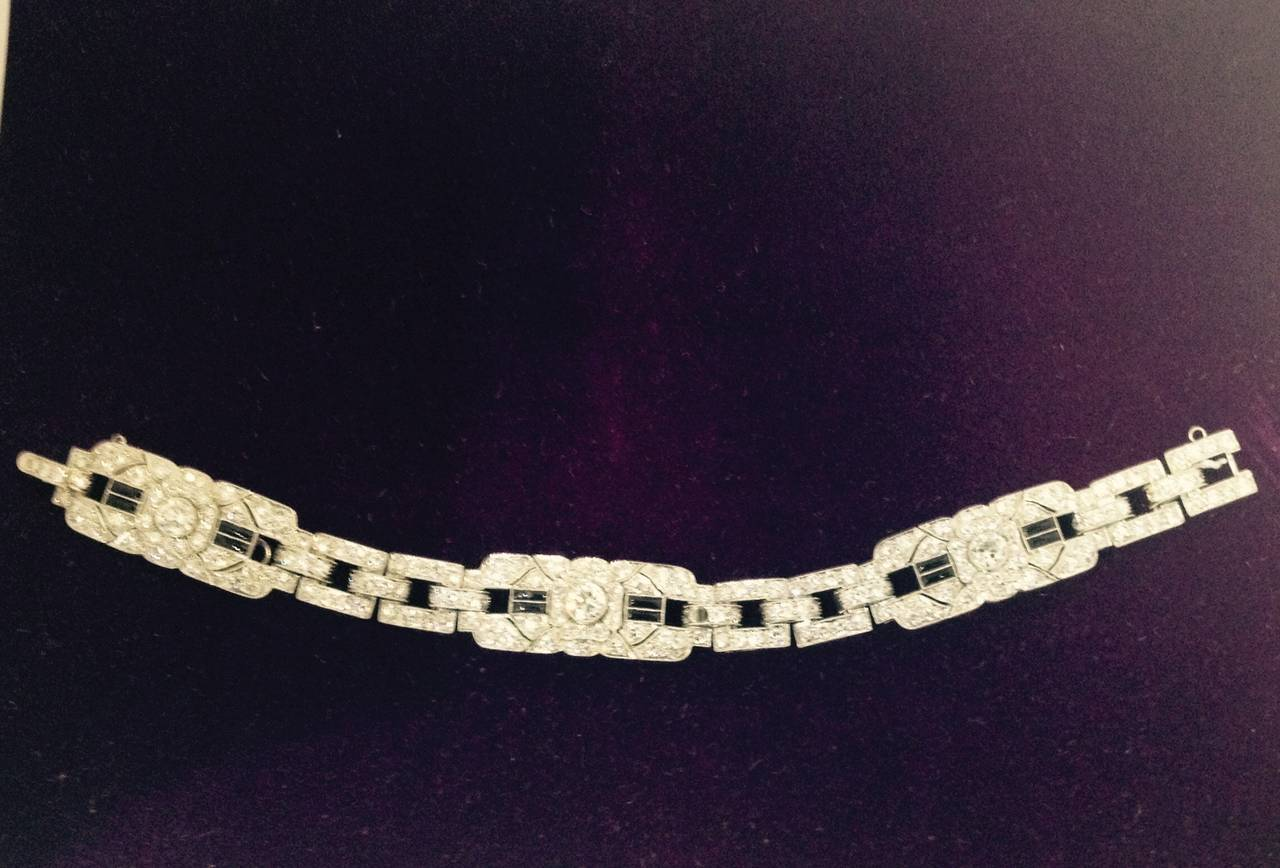 Art Deco Magnificent Onyx Diamond Platinum Flexible Bracelet 5
