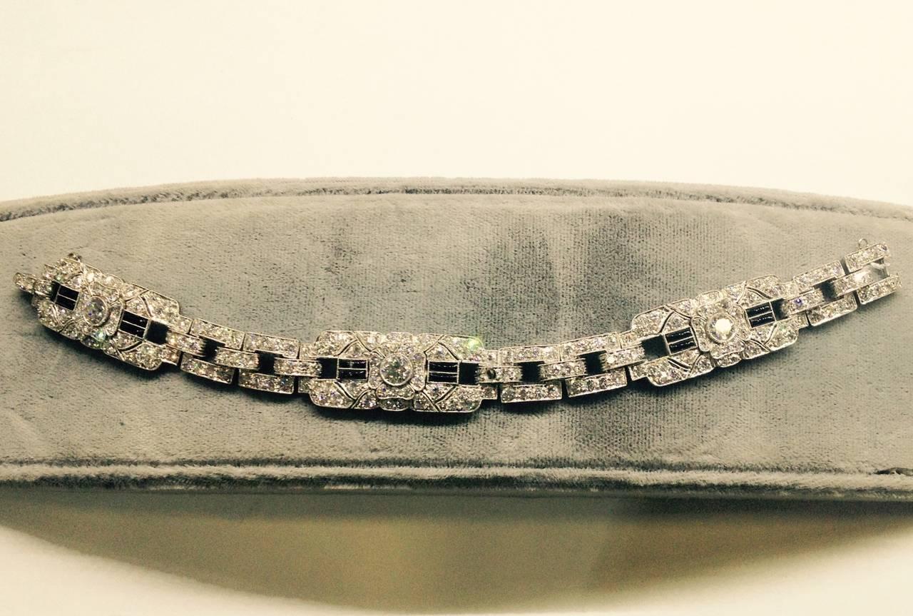Art Deco Magnificent Onyx Diamond Platinum Flexible Bracelet 4