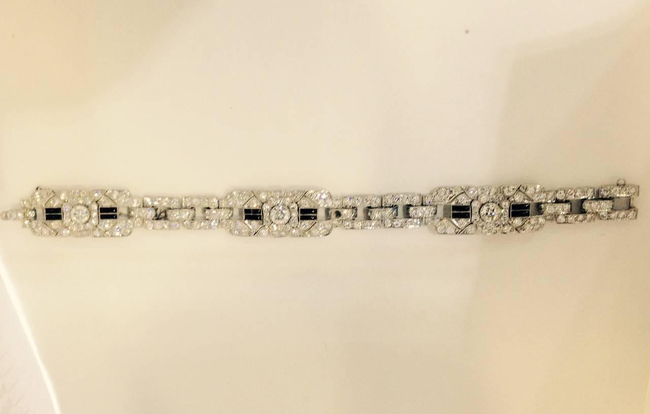 Art Deco Magnificent Onyx Diamond Platinum Flexible Bracelet 3