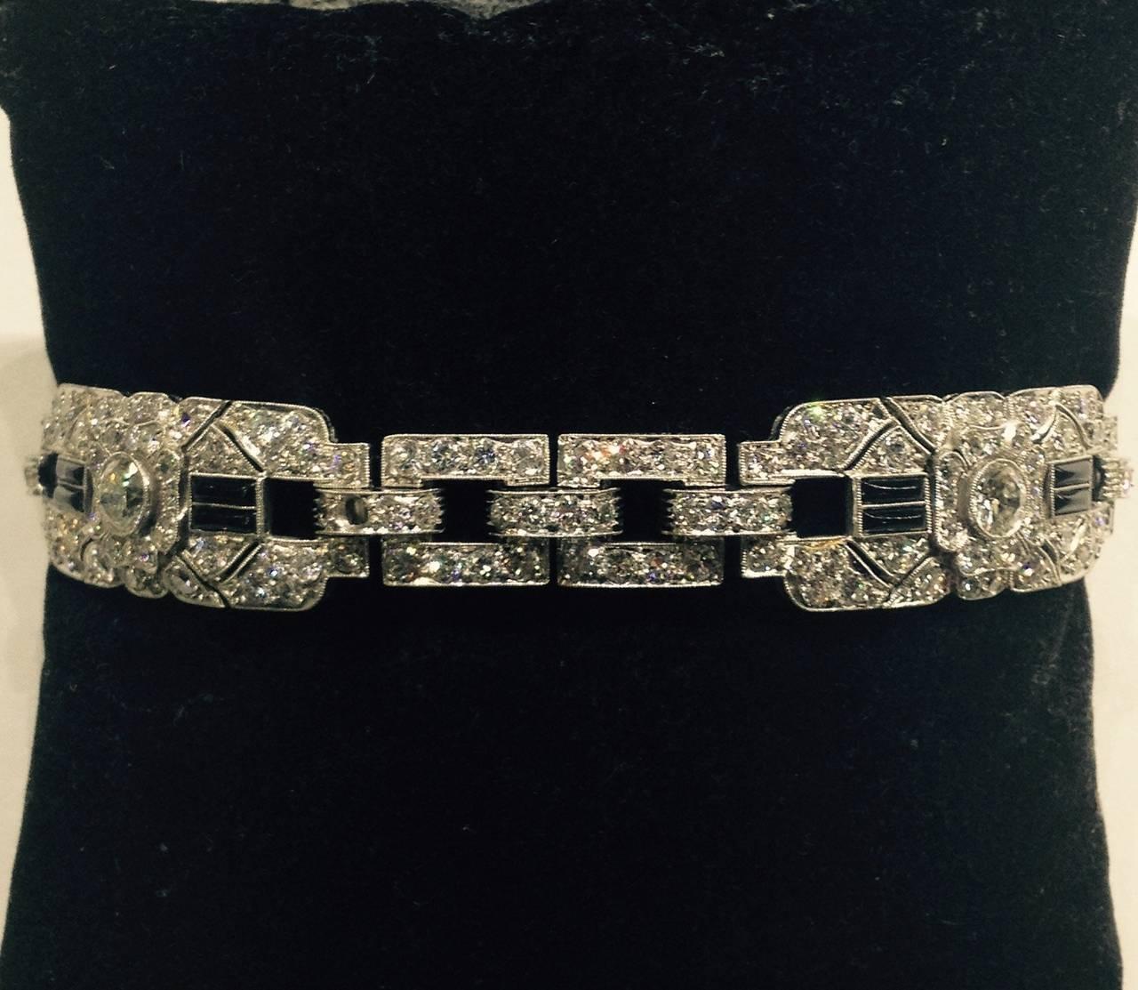Art Deco Magnificent Onyx Diamond Platinum Flexible Bracelet 6