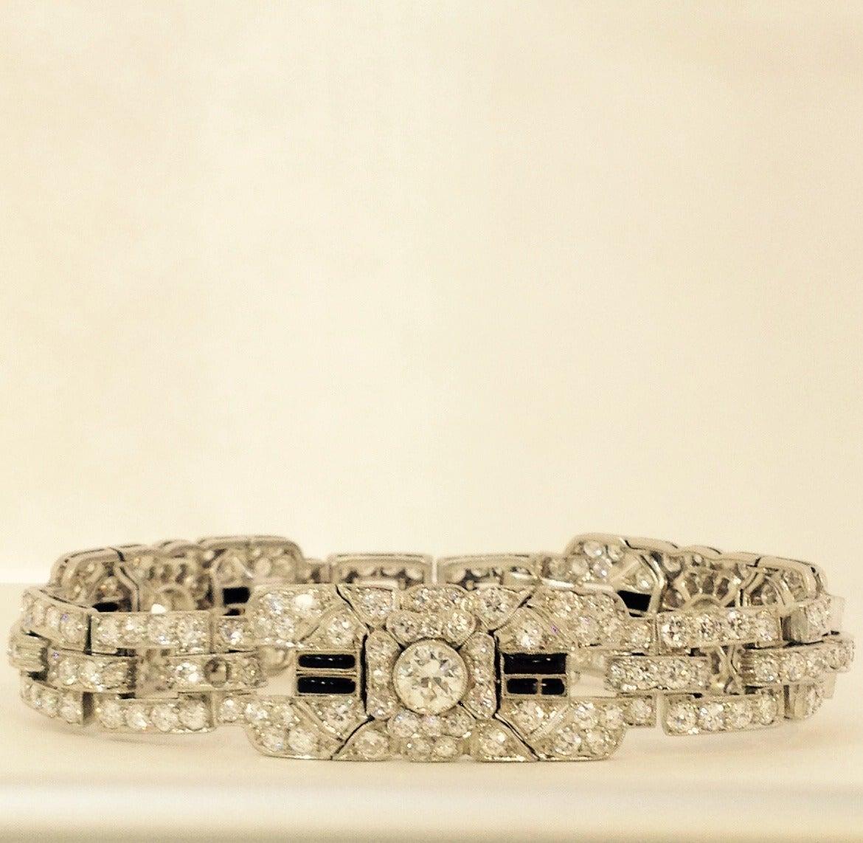 Art Deco Magnificent Onyx Diamond Platinum Flexible Bracelet 2