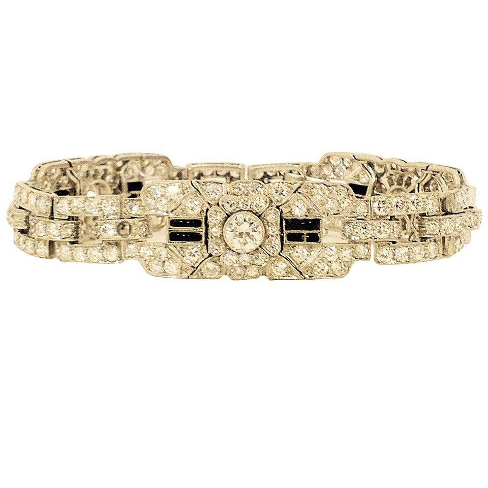 Art Deco Magnificent Onyx Diamond Platinum Flexible Bracelet 1
