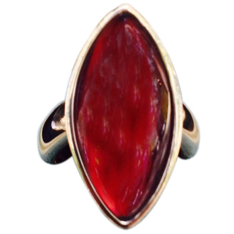 1980's VHERNIER Gold And Marquis Cut Cabochon Garnet Swivel ring 1