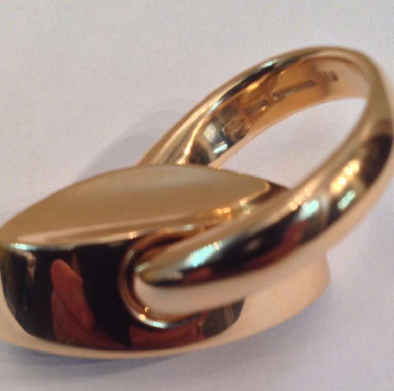 1980's VHERNIER Gold And Marquis Cut Cabochon Garnet Swivel ring 4