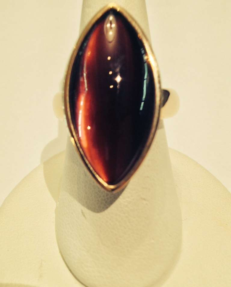 1980's VHERNIER Gold And Marquis Cut Cabochon Garnet Swivel ring 6