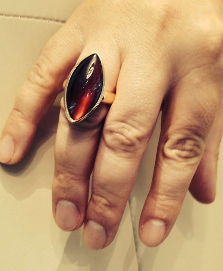 1980's VHERNIER Gold And Marquis Cut Cabochon Garnet Swivel ring 5