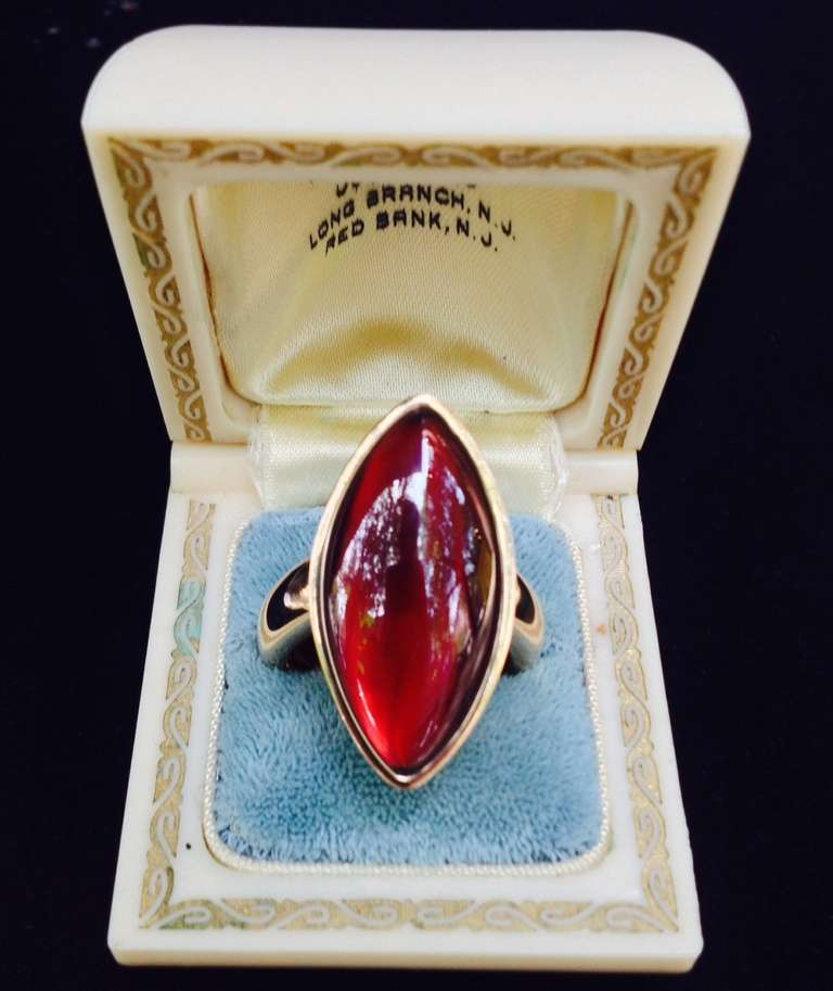 1980's VHERNIER Gold And Marquis Cut Cabochon Garnet Swivel ring 2