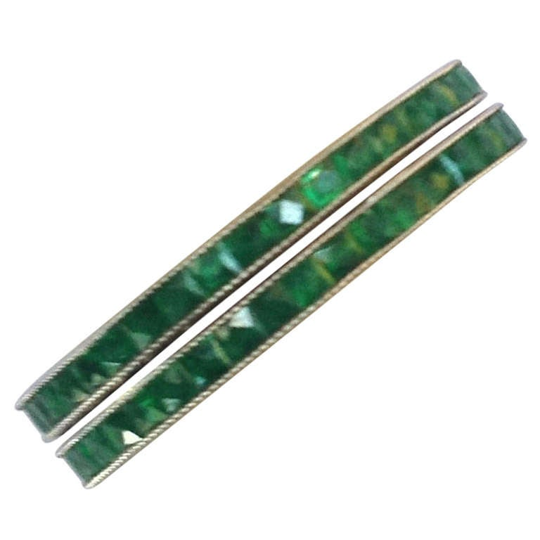 pair of emerald platinum eternity bands at 1stdibs