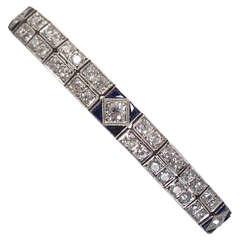 Sapphire Diamond Platinum Double Straightline Flexible Bracelet