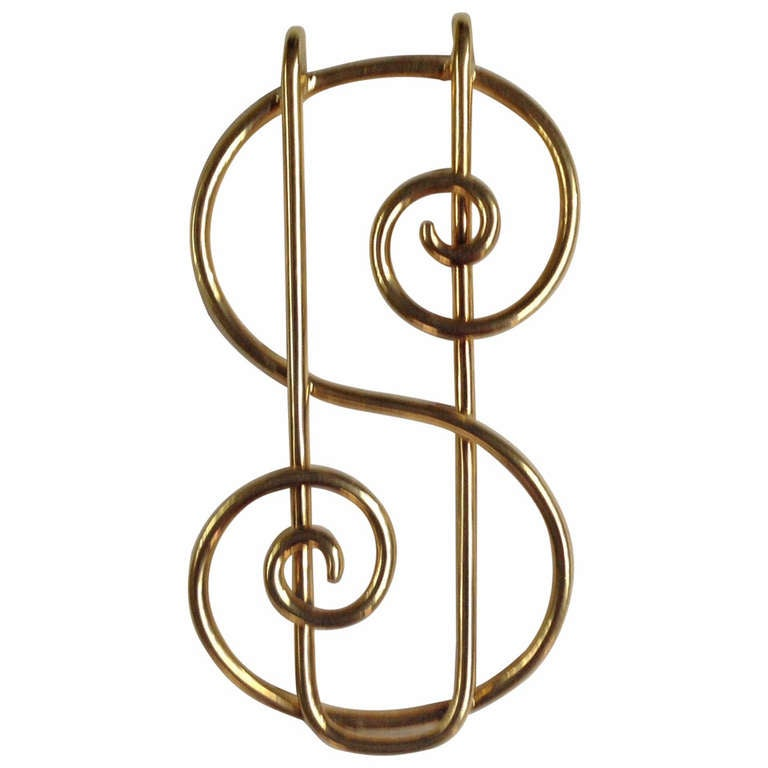 1940's Whimisical Gold Dollar Sign Money Clip 1