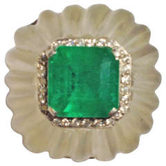 Emerald Diamond Frosted Fluted  Rock Crystal Cocktail Ring