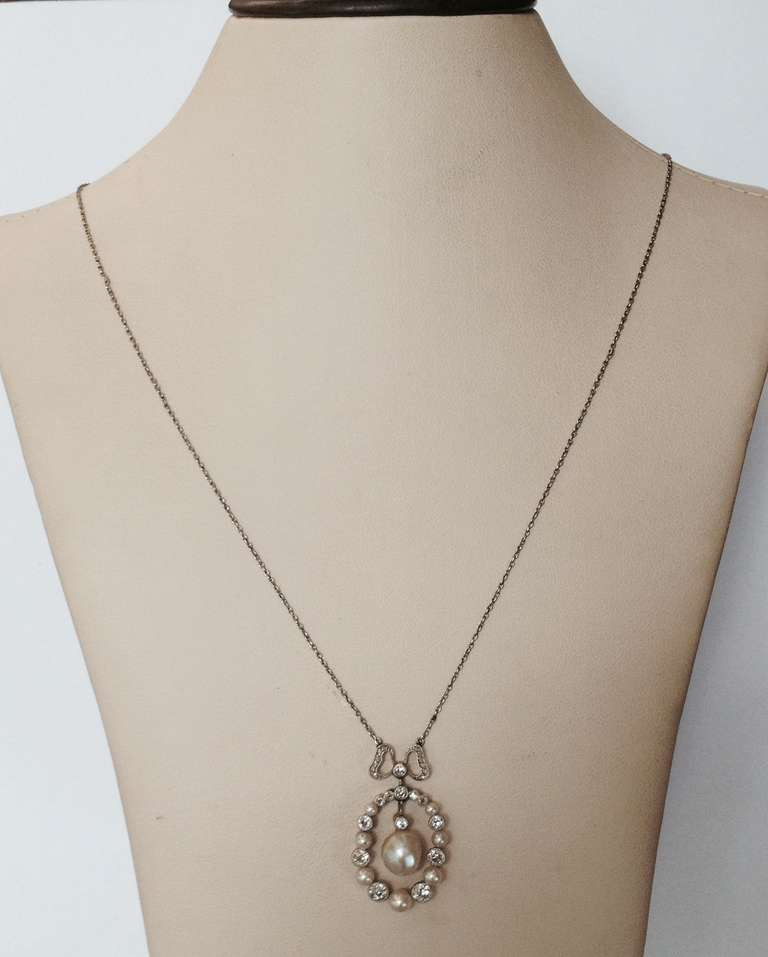 Edwardian Delicate Diamond And Natural Pearl Pendant Necklace With Bow 2
