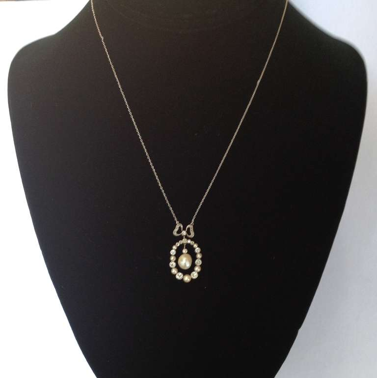 Edwardian Delicate Diamond And Natural Pearl Pendant Necklace With Bow 5