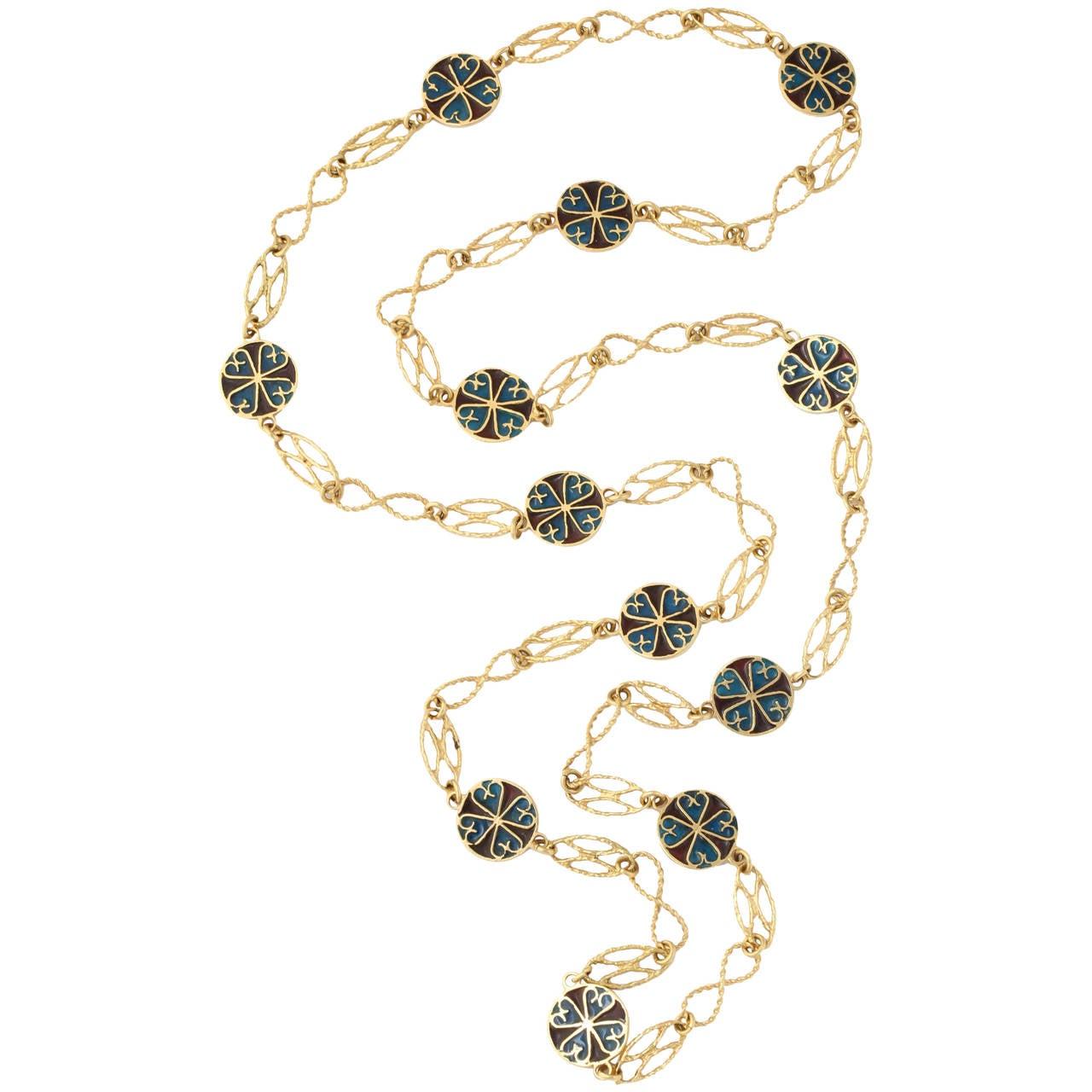 1950s Elegant Plique-A-Jour Enamel and Open Link Gold Slip On Chain