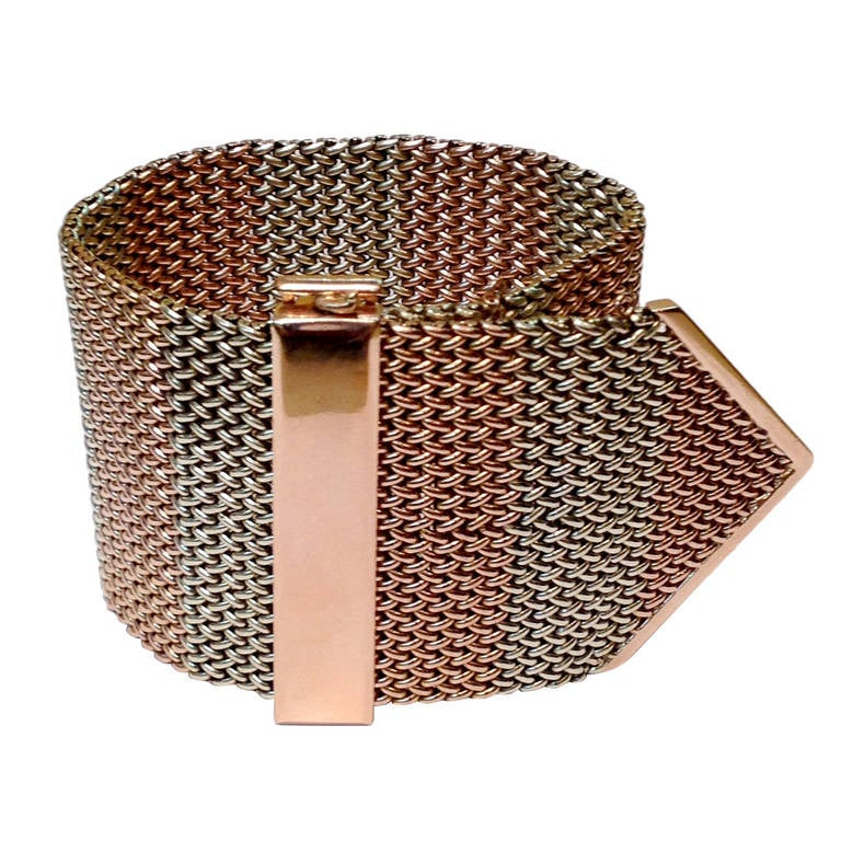1940's Two Tone Gold Mesh Buckle Bracelet 1