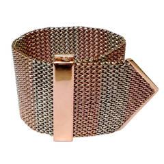 1940's Two Tone Gold Mesh Buckle Bracelet