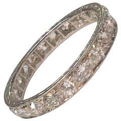 Art Deco Diamond Platinum 4mm Wide Unisex Eternity Band Size 10