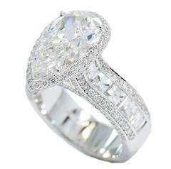 4.09 Carat GIA Cert Pear Shape Diamond Gold Bez Ambar Mounted Engagement Ring