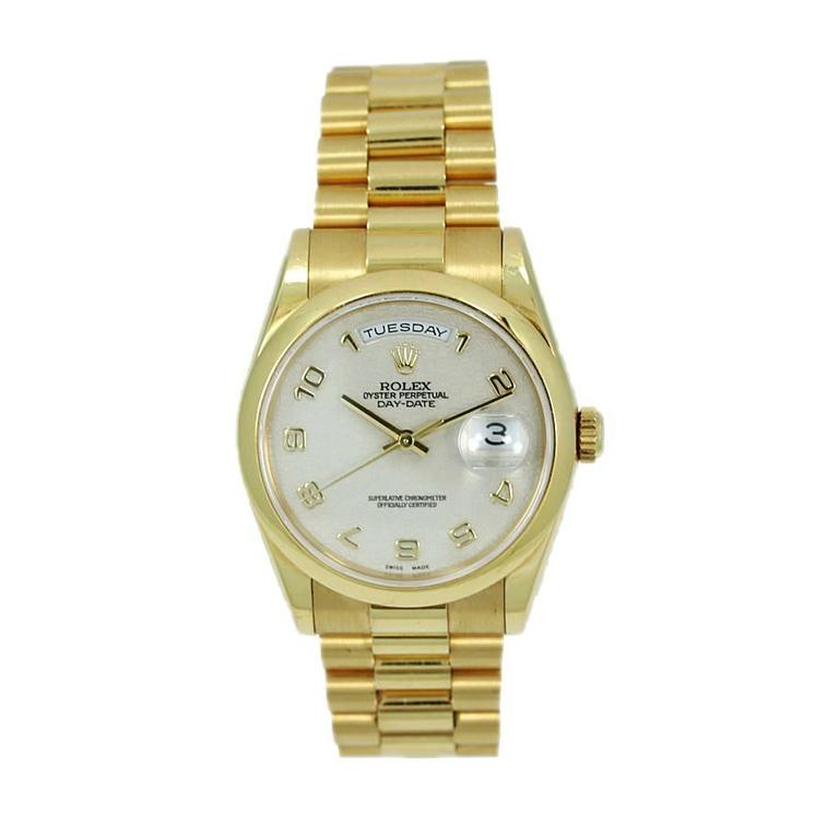 Rolex Yellow Gold Oyster Perpetual Day Date President Automatic Wristwatch