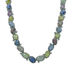 White Gold Necklace with Multi-Colored Sapphires and Round Brilliant Diamonds