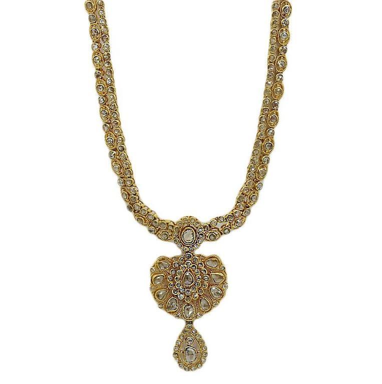 5.00 Carats Rose Cut Diamonds Yellow Gold Necklace