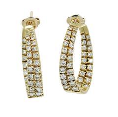 3.50 Carat Diamonds Yellow Gold J Hoop Earrings