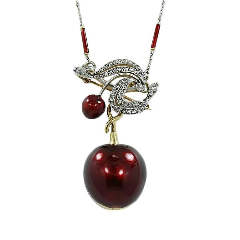 Enamel Yellow Gold Cherry Pendant Pin Watch on a Platinum Chain