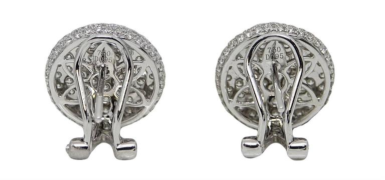 1.90 Carat Diamond Button White Gold Earrings In Excellent Condition For Sale In Naples, FL