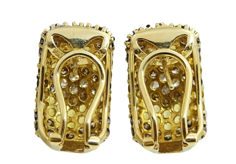 18K Yellow Gold Earrings With White and Champagne Diamonds Weighing A total Carat Weight Of 2.00 Carats and Yellow Sapphires Weighing A Total Carat Weight Of 1.75 Carats