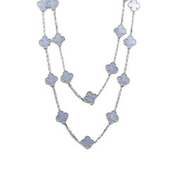 Van Cleef & Arpels Alhambra Chalcedony White Gold Necklace