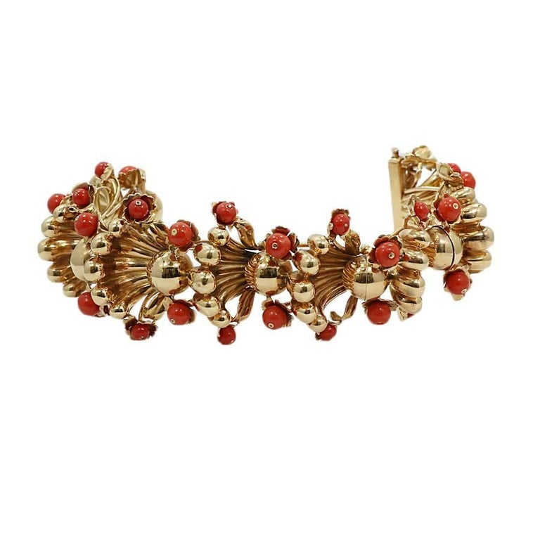 Coral Fashion Yellow Gold Bracelet For Sale