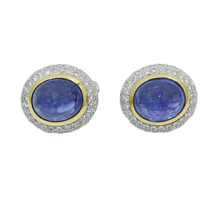14.17 Carat Cabochon Sapphire and Diamond Button Yellow and White Gold Earrings
