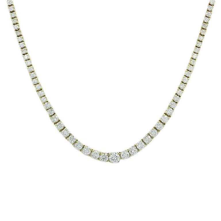 7.25 Carat Round Brilliant Diamond Tennis Necklace