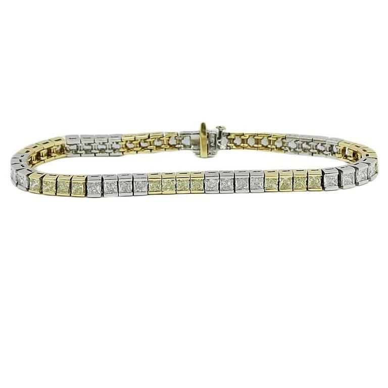 12.00 Carat Yellow and White Diamond Platinum Tennis Bracelet