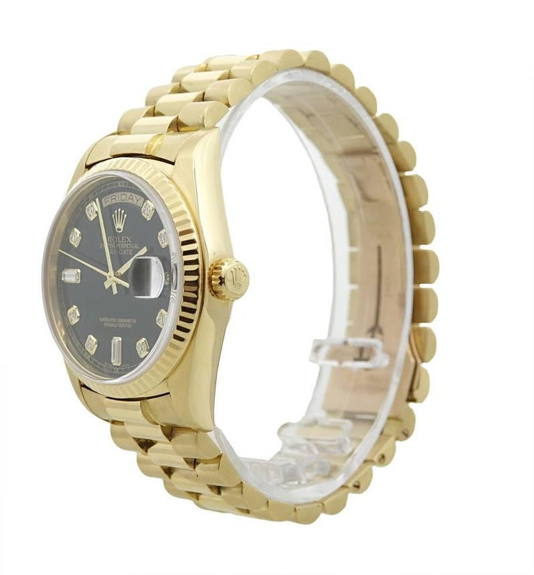 Round Cut Rolex Yellow Gold President Day Date Black Dial Automatic Wristwatch For Sale
