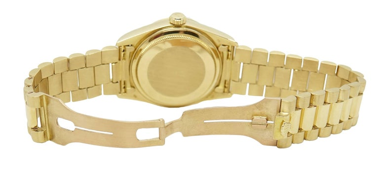 Women's or Men's Rolex Yellow Gold President Day Date Black Dial Automatic Wristwatch For Sale