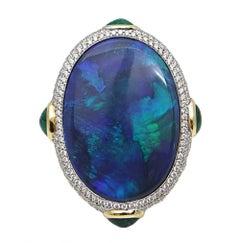 Pamela Huizenga 18.93 Carat Australian Black Opal Yellow Gold Ring