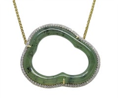"Pamela Huizenga ""Silver Lining' Nephrite Jade Yellow Gold Necklace"