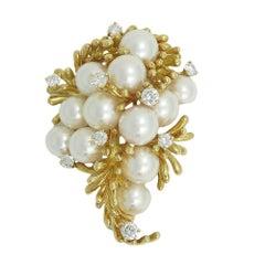 Kurt Wayne Yellow Gold Pearl and Diamond Pin