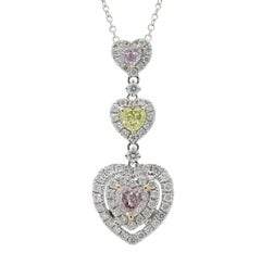 White Gold Heart Shaped Pendant Necklace